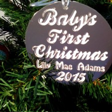 Babies First Christmas Round - with Background