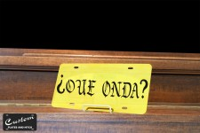 Gold Custom License Plate - Que Onda